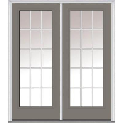 64 in. x 80 in. Classic Clear Glass GBG Full Lite Painted Builder's Choice Steel Double Prehung Front Door