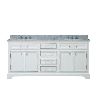 60 in. W x 21.5 in. D Vanity in White with Marble Vanity Top in Carrara White and Chrome Faucet