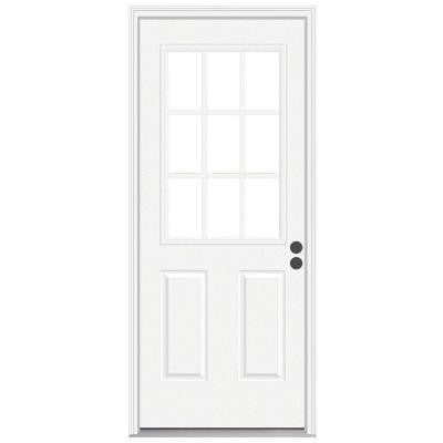 36 in. x 80 in. 9 Lite Primed Premium Steel Prehung Front Door with Brickmould