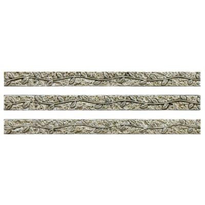 Baroque Pewter Vine Stick 3/8 in. x 6 in. Resin Wall Trim Tile (3-Pack)