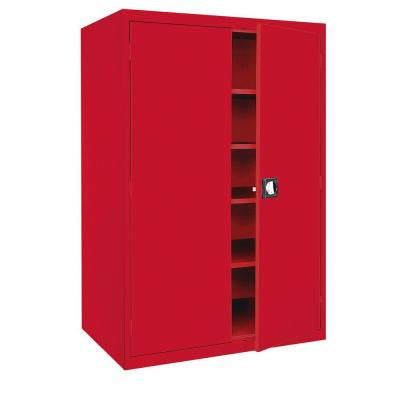 Elite Series 72 in. H x 46 in. W x 24 in. D 5-Shelf Steel Recessed Handle Storage Cabinet in Red