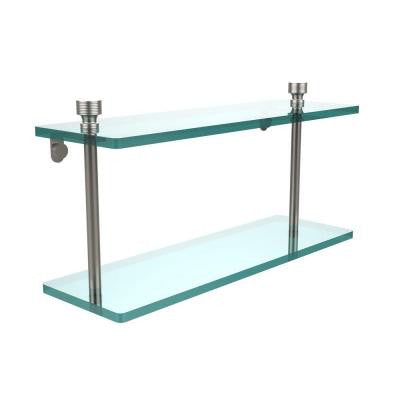 Foxtrot Collection 5 in. W x 16 in. L 2-Tiered Glass Shelf in Satin Nickel