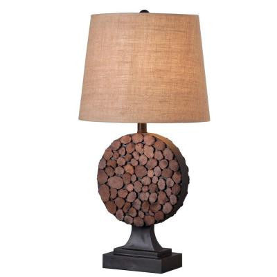 28 in. H Knot Golden Flecked Bronze with Wood Accents Table Lamp
