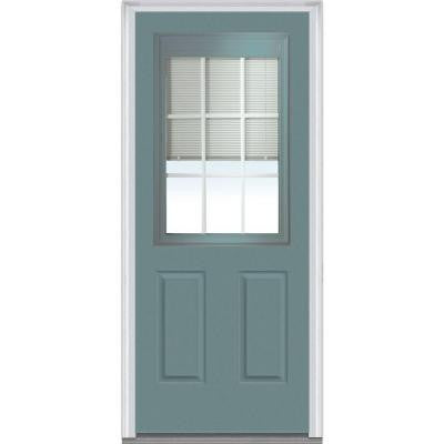 36 in. x 80 in. Classic Clear RLB GBG Low-E Glass 1/2-Lite 2-Panel Painted Builder's Choice Steel Prehung Front Door