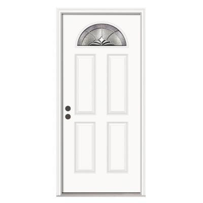 36 in. x 80 in. Langford Fan Lite Primed Premium Steel Prehung Front Door with Nickel Caming and Brickmould