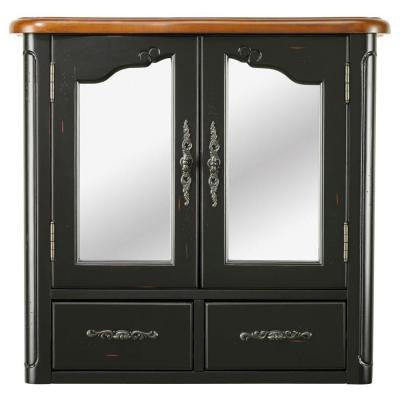 Provence 24 in. W Wall Cabinet in Black