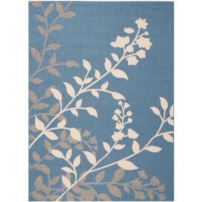 Courtyard Blue/Beige 5 ft. 3 in. x 7 ft. 7 in. Indoor/Outdoor Area Rug