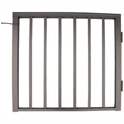 36 in. x 36 in. Bronze Pre-Built Aluminum Single Panel Walk Through Gate with 1 in. Square Balusters