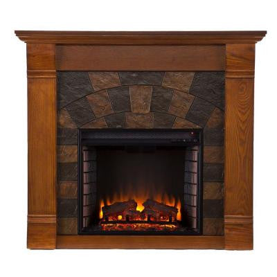 Caden 45.5 in. Freestanding Electric Fireplace in Salem Antique Oak