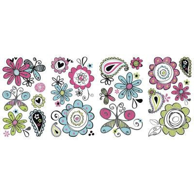 5 in. x 11.5 in. Glitter Doodlerific Floral Peel and Stick Wall Decal