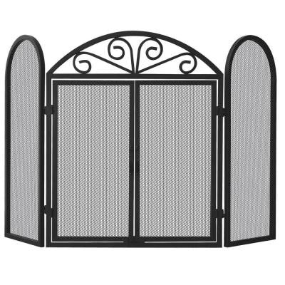 Black Wrought Iron 3-Panel Fireplace Screen with Opening Doors