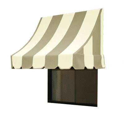 7 ft. Nantucket Window/Entry Awning (31 in. H x 24 in. D) in Gray/White Stripe