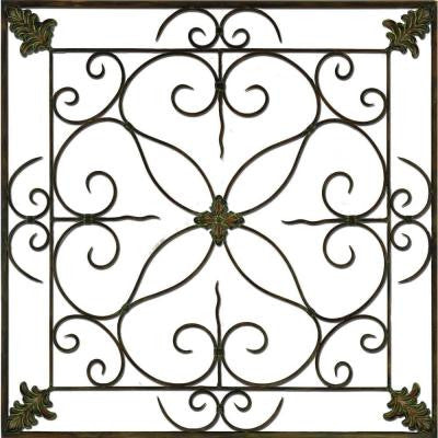 35 in. x 35 in. Aged Floral Metal Wall Art Panel