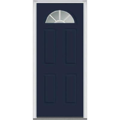 32 in. x 80 in. Classic Clear Glass GBG 1/4-Lite Painted Builder's Choice Steel Prehung Front Door