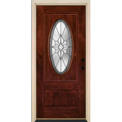 37.5 in. x 81.625 in. Stellar Patina 3/4 Oval Lite Stained Chocolate Mahogany Fiberglass Prehung Front Door