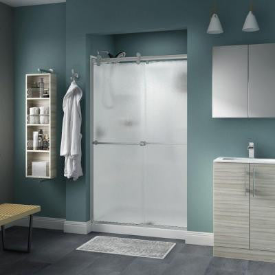 Mandara 48 in. x 71 in. Semi-Framed Contemporary Style Sliding Shower Door in Nickel with Rain Glass