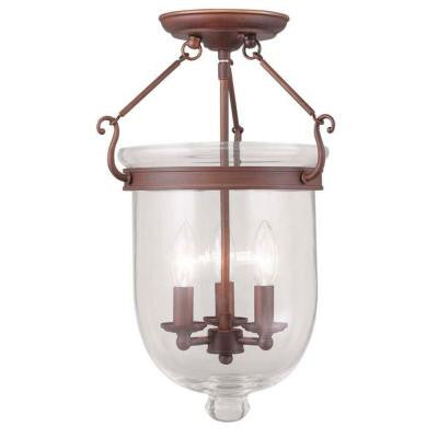 Providence 3-Light Vintage Bronze Incandescent Ceiling Semi Flush Mount
