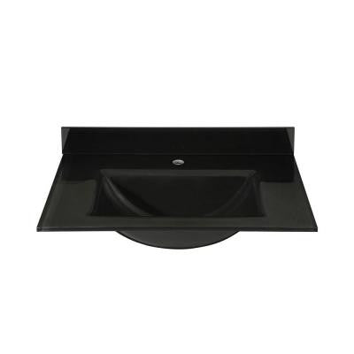 31 in. Glass Vanity Top in Black with Black Integral Basin