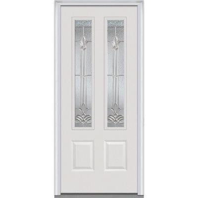 36 in. x 80 in. Bristol Decorative Glass 2 Lite 2-Panel Primed White Fiberglass Smooth Prehung Front Door