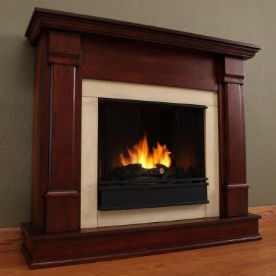 Silverton 48 in. Gel Fuel Fireplace in Dark Mahogany