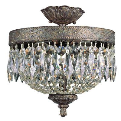 Cabernet Collection 2-Light Patina Bronze Flushmount with Clear Crystal Prisms