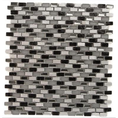 Paradox Space Mini Brick 11-1/4 in. x 12-1/4 in. x 8 mm Glass Mosaic Tile