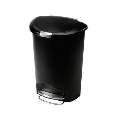 50 l Semi-Round Black Plastic Step Trash Can