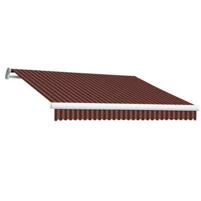 24 ft. MAUI EX Model Left Motor Retractable Awning (120 in. Projection) in Burgundy and Tan Stripe