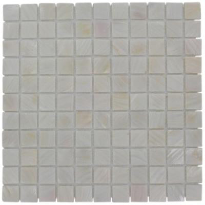 Mother of Pearl Castel Del Monte White 12 in. x 12 in. x 8 mm Pearl Mosaic Floor and Wall Tile