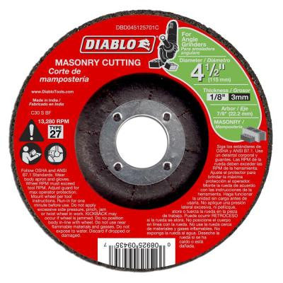 4-1/2 in. x 1/8 in. x 7/8 in. Masonry Cutting Disc with Type 27 Depressed Center (10-Pack)