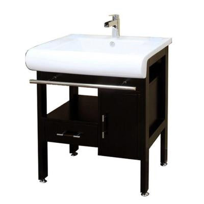 Belgrade 28 in. W x 22 in. D x 36 in. H Single Sink Wood Vanity in Dark Espresso with Porcelain Vanity Top in White