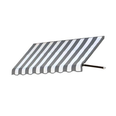 25 ft. Dallas Retro Window/Entry Awning (44 in. H x 36 in. D) in Gray / White Stripe