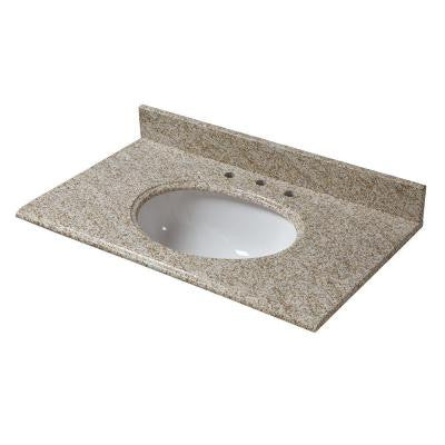 37 in. Granite Vanity Top in Golden Hill with White Basin