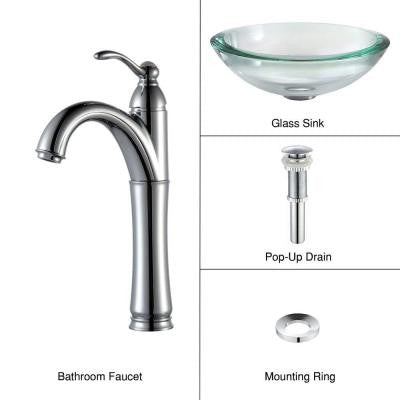 34 mm Edge Glass Vessel Sink in Clear with Single Hole 1-Handle High Arc Riviera Faucet in Chrome