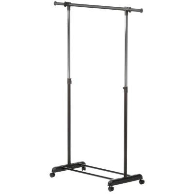 Expandable Steel Rolling Garment Rack in Chrome/Black