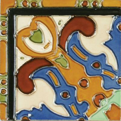 Hand-Painted Figuras Deco 6 in. x 6 in. Ceramic Wall Tile (2.5 sq. ft. / case)