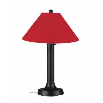 Catalina 34 in. Outdoor Black Table Lamp with Jockey Red Shade