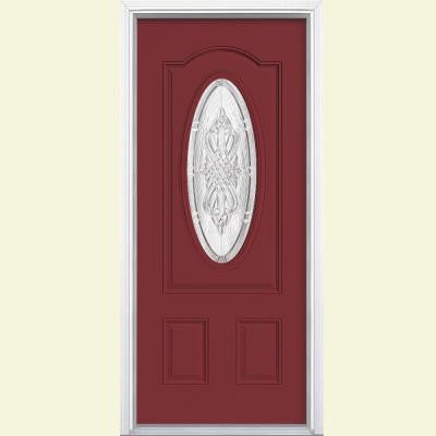 36 in. x 80 in. New Haven 3/4 Oval Lite Painted Steel Prehung Front Door with Brickmold