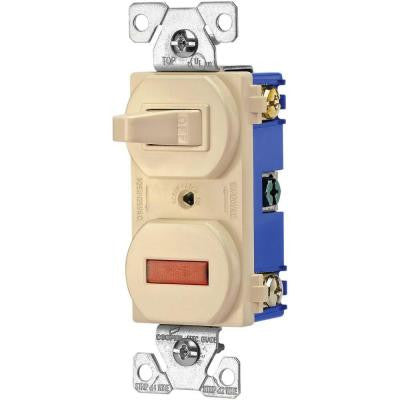 Heavy-Duty Grade 15 Amp Combination Single Pole Toggle Switch and Pilot Light - Ivory