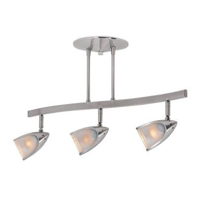 Comet 3-Light Brushed Steel Semi-Flush with Opal Glass Shade