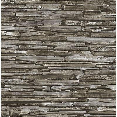 8 in. W x 10 in. H Green Stacked Slate Industrial Wallpaper Sample
