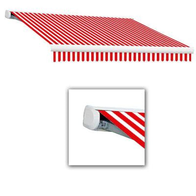 16 ft. Key West Full-Cassette Left Motor Retractable Awning with Remote (120 in. Projection) in Red/White