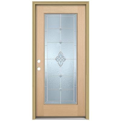 36 in. x 80 in. Rosemont Full Lite Unfinished Hemlock Wood Prehung Front Door with Brickmould and Zinc Caming