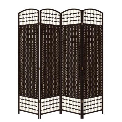 66.75 in. x 0.75 in. 4-Panel Handcrafted Room Divider in Espresso-Straw Weave Screen on Legs