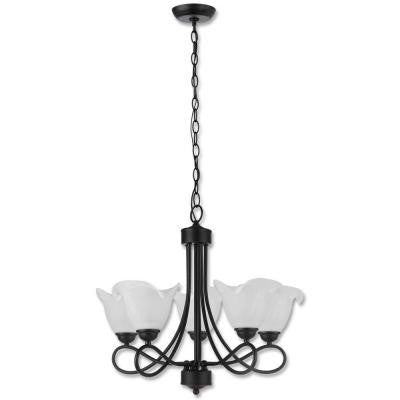 Lily Collection 5-Light Black Chandelier