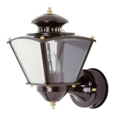 16 in. Black Motion Activated Outdoor Beveled Glass Coach Lantern