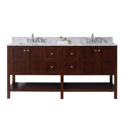 Winterfell 72 in. W x 22 in. D x 36 in. H Vanity in Cherry with Marble Vanity Top in White and Square Basin