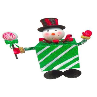 10.5 in. W x 11.125 in. H Metal Bouncing Snowman with Green Present Body