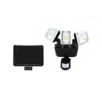 180° Black Solar Motion Sensing Triple Lamp Security Light with Advance LED Technology