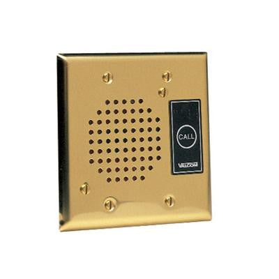 Flush Mount Door Plate Speaker with Call Button - Brass